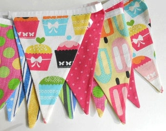 Cupcake Fabric Banner/ Birthday Banner/ Summer Party Decoration/ Photo Prop / Fabric Bunting in Hot Pink, Blue, Green, Orange