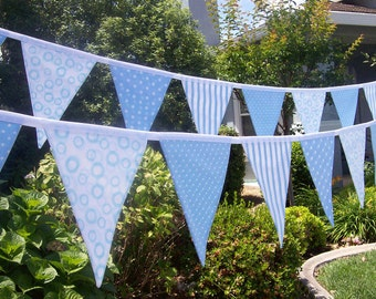 Blue and  White Fabric Banner/ Baby Shower Decoration/ Photo Prop /  Birthday Party Fabric Bunting/  Baby Boy