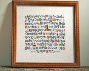 LIZZIE*KATE ABCs of Parenting counted cross stitch patterns Kit INCLUDES threads new baby nursery