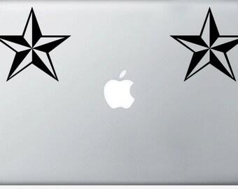 Nautical Star laptop DECAL- macbook iPad computer- vinyl sticker tattoo