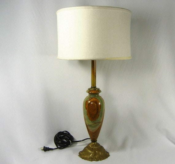 Onyx Table Lamp Solid Brass Green Brown Marble Tall By
