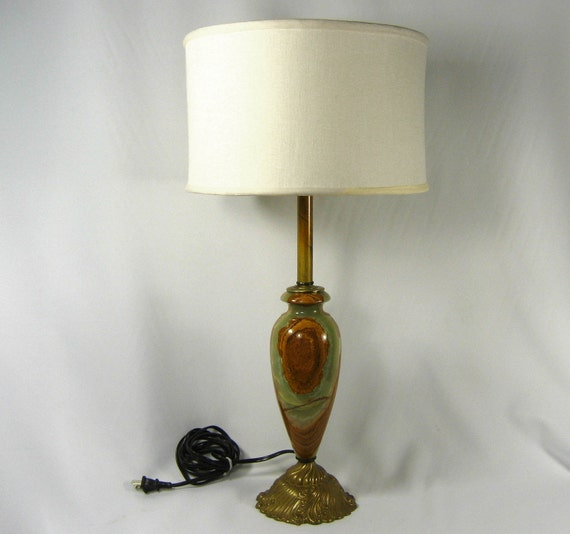 Balmoral Tall Pedestal Lantern Light Antique Brass: Onyx Table Lamp Solid Brass Green Brown Marble Tall By