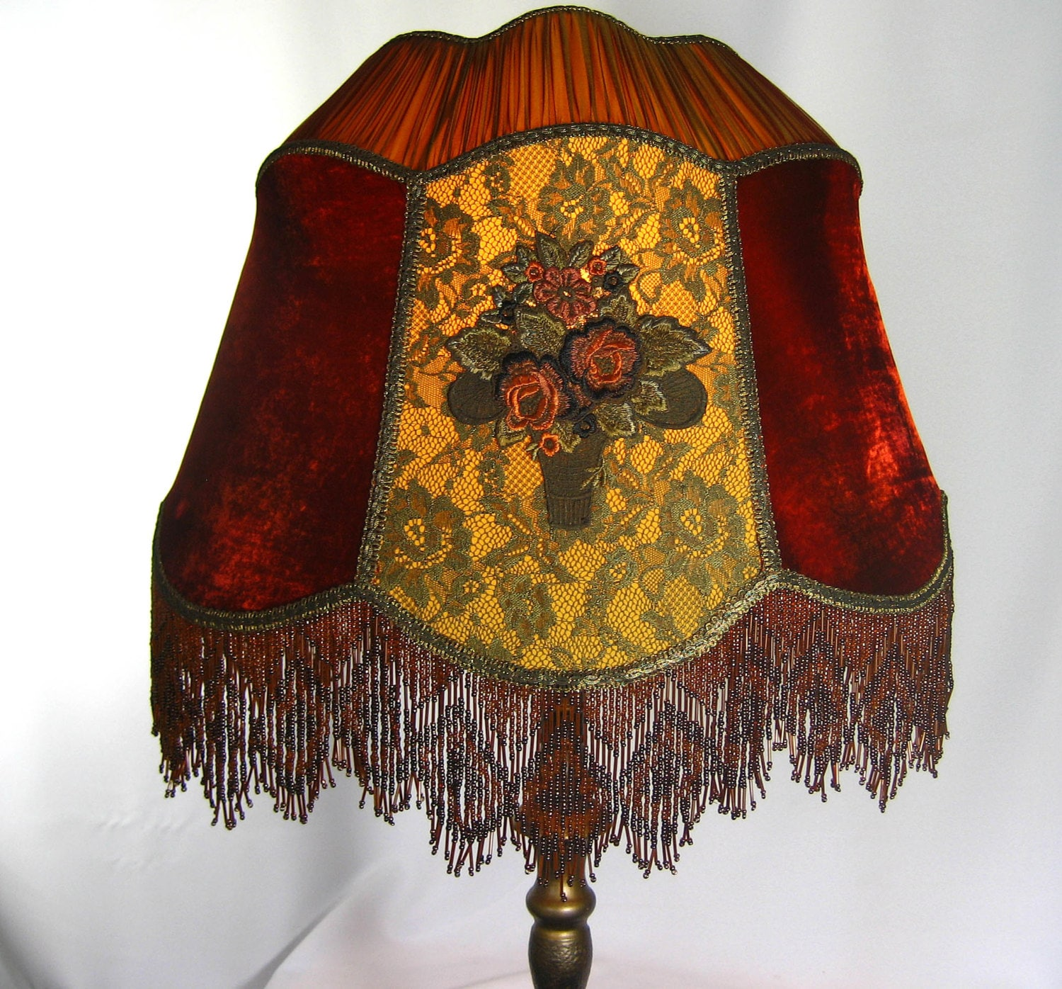 Lamp Shade Handmade Victorian Custom Silk Velvet By Judislamps