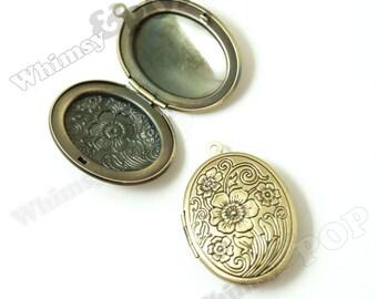 1 - Oval Flower Brass Locket Pendants, Antique Bronze Victorian Style Locket Charm, 24mm x 34mm (R9-135)