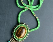 Green Beaded Necklace - Tigers Eye Gemstone Bead Embroidered Pendant - OOAK