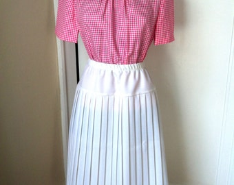 60's Pink and White Picnic Plaid Blouse - B43