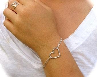 Heart Bracelet, Sterling Silver, Love, Heart Jewelry, Anniversary, Sweetheart, Bridal Jewelry, Bridesmaid, Handmade Maui, Christmas Gift