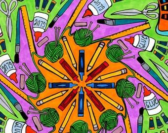 Maker's Mandala Print (Artists Art and Crafts Creative Celebration Copic Marker Psychedelic Spiritual Meditation Drawing)