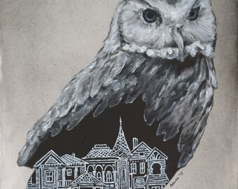 SALE The Night Owl: Print of Oil Painting 5x7
