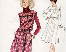 HALF PRICE 1970s Bloused Pullover Dress Pattern Very Easy Vogue 9870 Vintage Sewing Pattern Bust 36 FF Unused