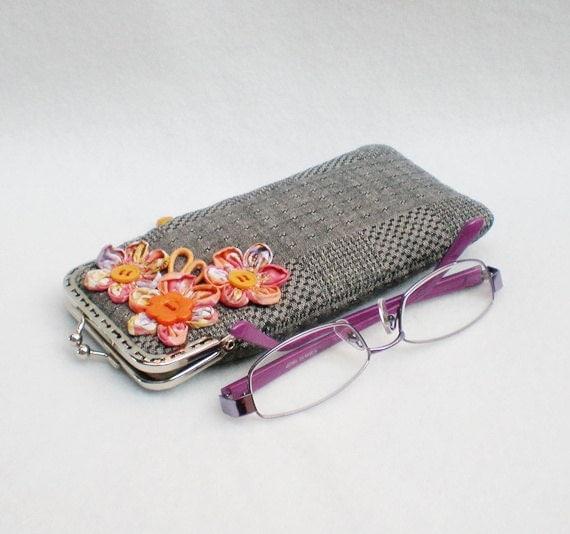 Orange Flowers Grey Glasses Case, Reading Glasses Case, Metal Frame Purse