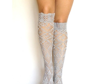 Lace high knee socks crochet gray lacy knee sleepers crochet boot socks tight high