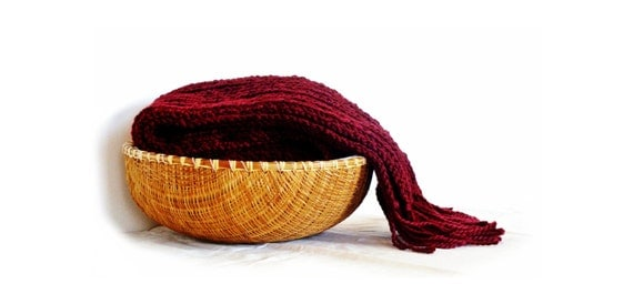 Knit wool scarf in burgundy,  wool wrap with fringes