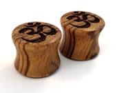 "Om Symbol Zebrawood Wooden Plugs 0g (8mm) up to 1 3/4"" (44mm) includ 00g (9mm) (10mm) 7/16"" (11mm) 1/2"" (13mm) 9/16"" (14mm) Wood Ear Gauges"
