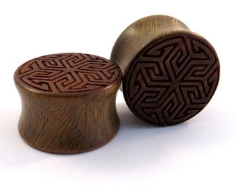 "Maze of Life Lignum Vitae Wooden Plugs PAIR 00g (9mm) (10 mm) 7/16"" (11mm) 1/2"" (13mm) 9/16"" (14mm) 5/8"" (16mm) 3/4"" 7/8"" 1"" Wood Ear Gauges"