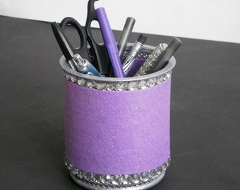 LAVENDER & BLING Pen/Pencil Cup  - Lavender purple w/ clear rhinestones