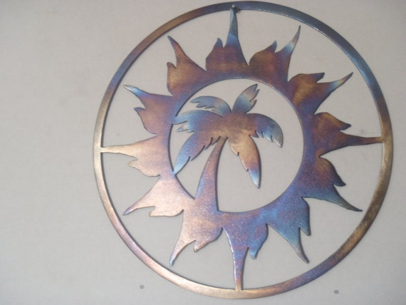 Items Similar To Palm Tree And Sun Metal Art Round Wall