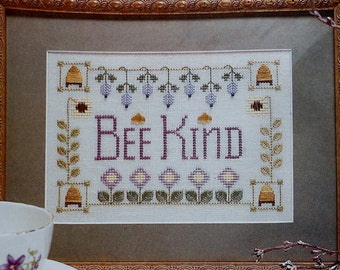 Elizabeth Foster BEE KIND Behive Sampler - Counted Cross Stitch Pattern Chart - fam