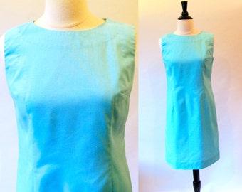 60s Blue Dress, Sleeveless Cotton Sheath,  Summer Shift