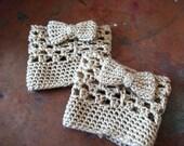 Grey crocheted boot cuff leg warmers with bow bootcuff