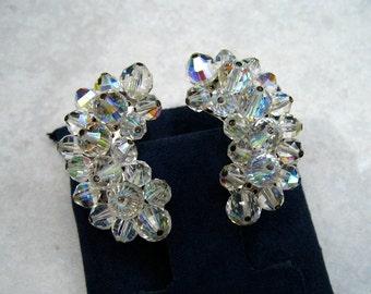 Vintage Laguna Earrings Crystal Cluster Bead Crescent