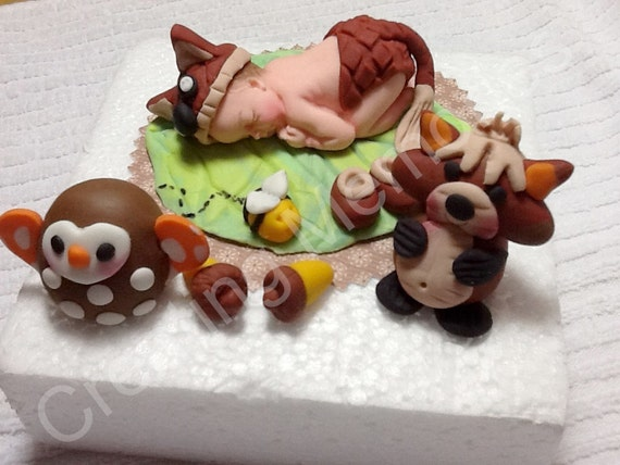Baby With Forest Friends Cake Topper Baby Shower Birthday