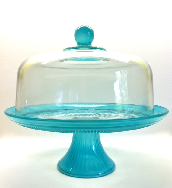 cake plate with dome items similar to size cake stand with dome in aqua 2273