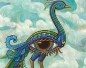 Beautiful Peacock Eye Bird - fantasy, dream-like art print