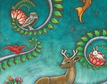 11 x 14 tree of life triptych - woodland animals nursery art print