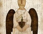 Grubby Primitive Garden Angel,  Art, 8x10,  Instant Download