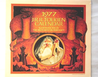 JRR Tolkein Calendar - Lord of the Rings  - New Price - 1977 Vintage  -  Paintings by the Brothers Hildebrandt - The Hobbit