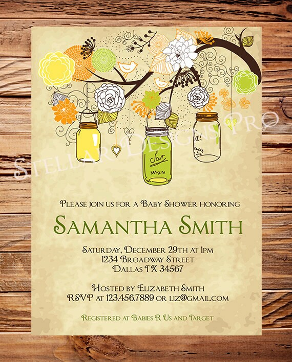 Vintage Owl Baby Shower Invitations: Mason Jar Baby Shower InvitationBoy Girl Gender Neutral
