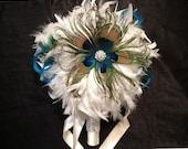 VINTAGE BLING Ivory or White Peacock Feather Bridal Bouquet Wedding Bouquets Bling Crystal Custom Bride Feathers Colors Turquoise Blue Green