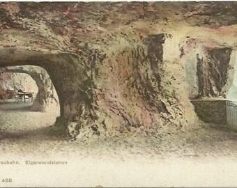 Jungfraubahn, Elgerwandstation - Virgin Ground Elger Wall Station 1911 Undivided Back Vintage Postcard