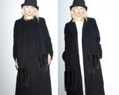 Black Cashmere Coat with Fur Tails