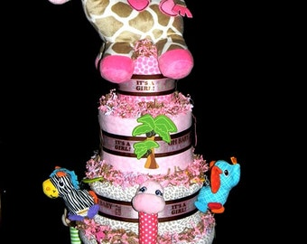 Jungle Jill Diaper Cake - Matches Several Jungle Themes For Girls