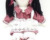 clearance sale hand made rag doll  ragdoll black pigtails black eyes burgundy pink flowered hat NF58