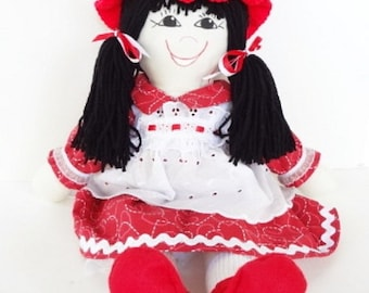 cloth doll, handmade rag doll, fabric doll, hand made rag doll, ragdoll, little girl toy doll, cloth toy, NF142