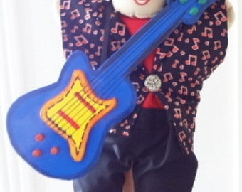 clearance sale Hand Puppet Doll Musician with guitar rock star 132