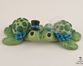 Love Turtles Wedding Cake Topper Custom