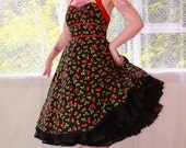 Rockabilly Cherry 'Juanita' Dress with Red Cotton Sateen Trim, Red Ric Rac Trim and Black Lace Hem - Custom made to fit