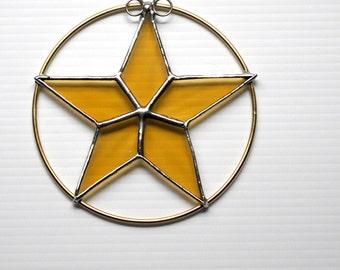 Gold Star Stained Glass Suncatcher