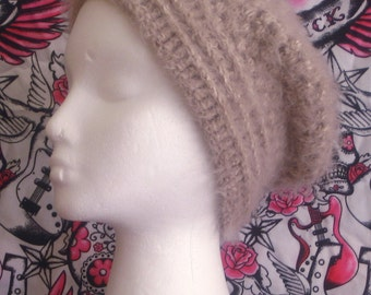 Slouch Beanie hand crochet soft and fuzzy made to fit teen and adults