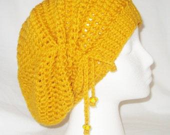 Crochet hat cinched slouchy in bright yellow made to fit teens and adults