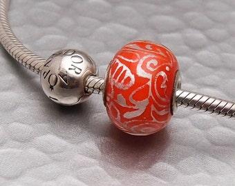 Sterling Silver Lampwork Glass Slider Charm - Tangerine Whimsy - SRA Artisan Handmade
