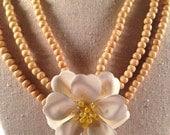 Vintage Enamel White Flower Brooch Wooden Bead Multistrand Necklace