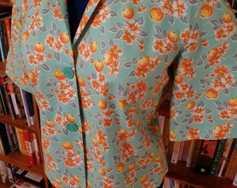 PEACHY KEEN-- Handmade New 1950s Pattern Ladies Button Down Camp Shirt or Blouse with Vintage Buttons-M