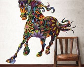 Horse Graphic Wall Decal Sticker - Multicolor Floral Horse