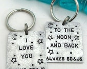 Hand Stamped Key Chains - Set of 2 - His and Hers BFF Couples - Personalized Keychains
