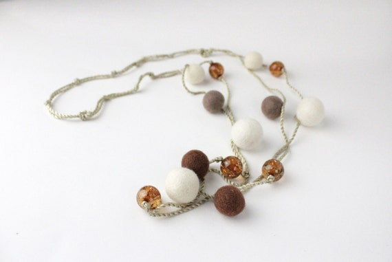 SALE 25% OFF - Brown And Cream Felt Beaded Necklace With Amber Acrylic Beads